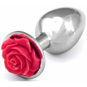 Kovový anální kolík s růžičkou (tmavě růžový)