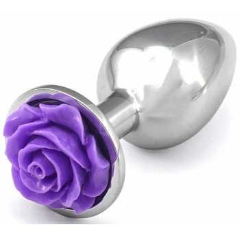 Kovový anální kolík s růžičkou (fialový)