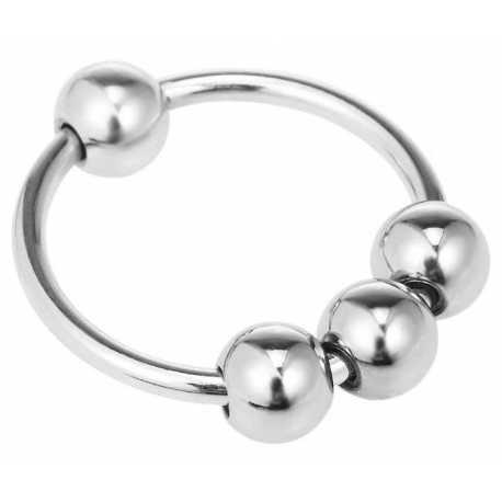 Stimulační kroužek na penis s pohyblivými kuličkami (kovový)