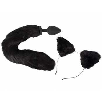 Pet Play Kit - anální kolík s ocasem a čelenka s ušima