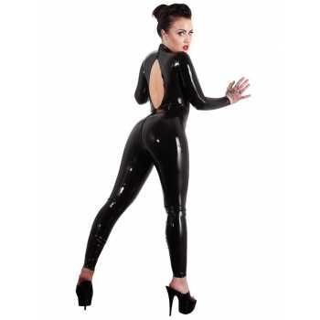Latexový catsuit s výstřihem na zádech - LateX