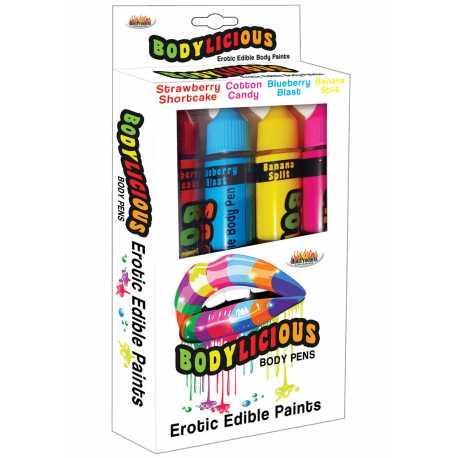 Slíbatelný bodypainting Bodylicious Body Pens, 4 příchutě (4 x 55 g)