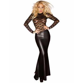 Lesklé šaty dlouhé - s krajkovým topem
