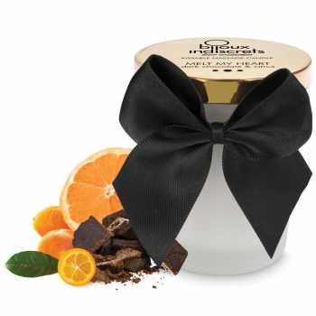 Masážní svíčka Melt My Heart - s chutí hořké čokolády a citrusů