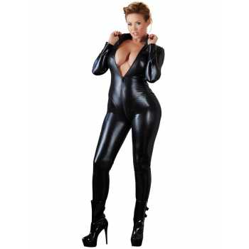 Plus size overal ve wetlook stylu s dlouhým dvoucestným zipem