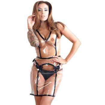 Transparentní šaty s mašlemi a šněrováním