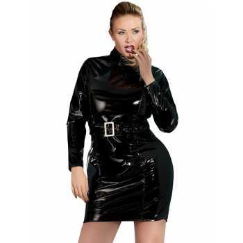 Lakované šaty s dlouhými rukávy a páskem (PLUS SIZE)